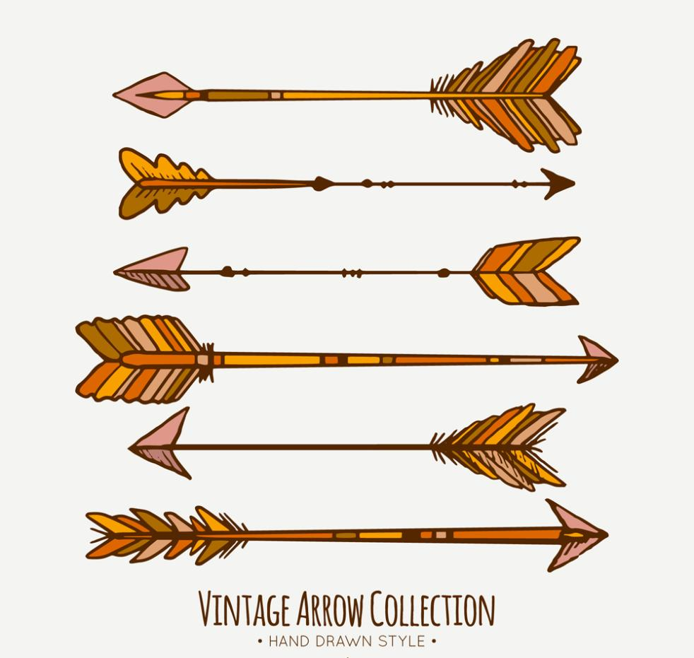 6 Retro Feather Arrows Vector