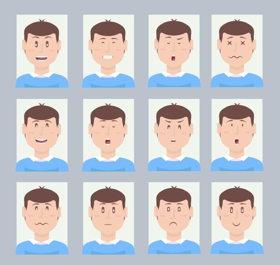 12 Creative Man Face Image Vector