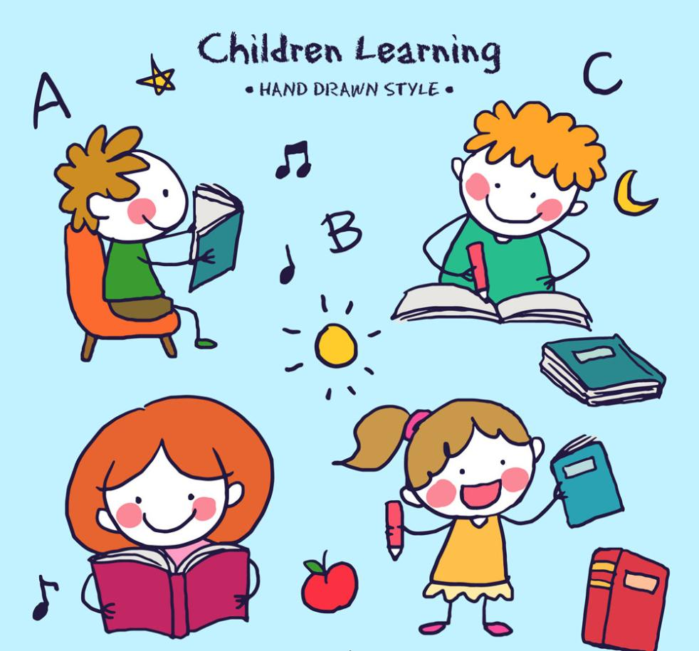 4 Hand-painted Children Learning Vector