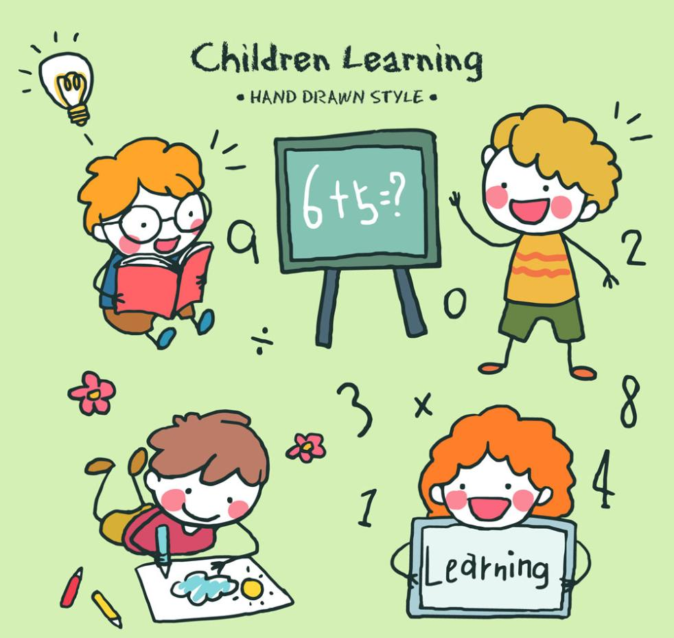 4 Lovely Children To Learn Vector
