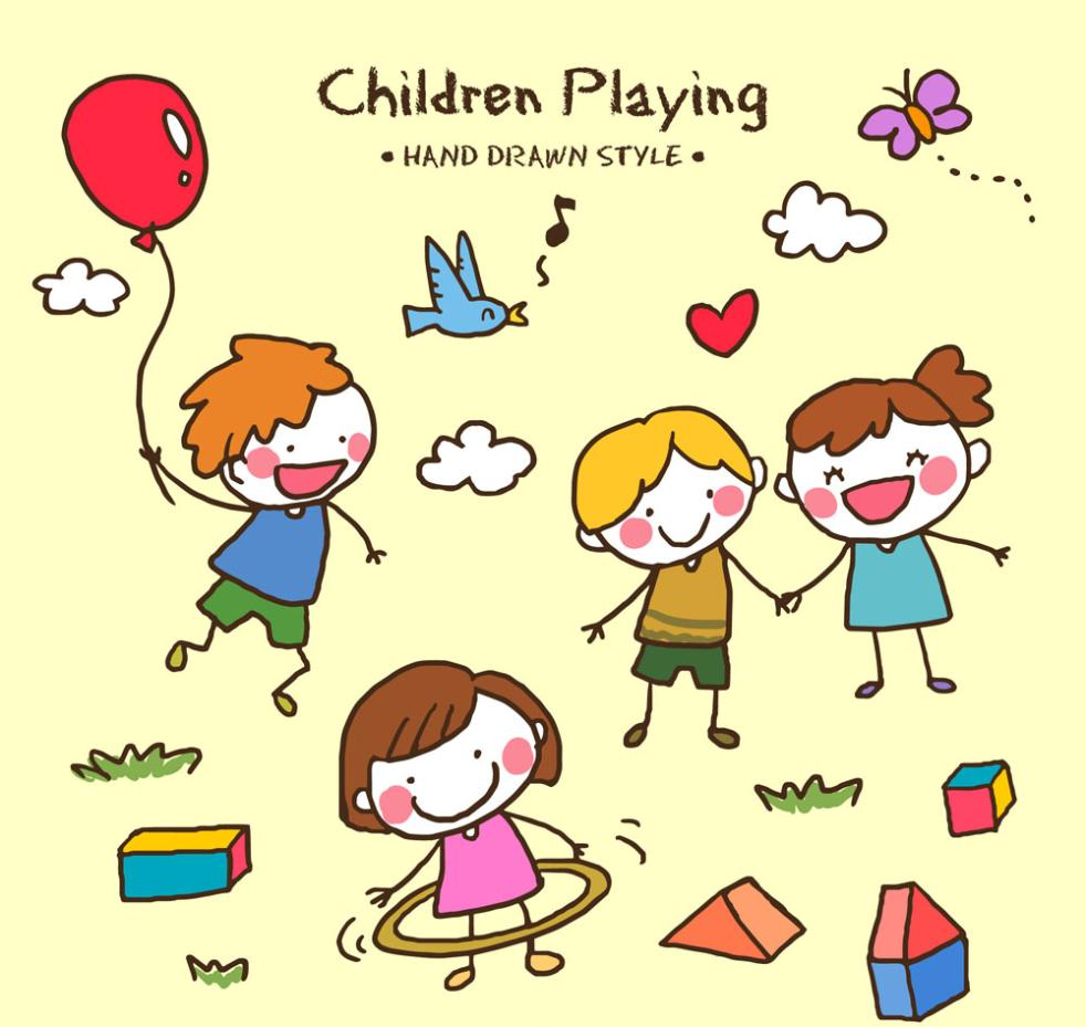 4 Hand-painted Playing Children Vector