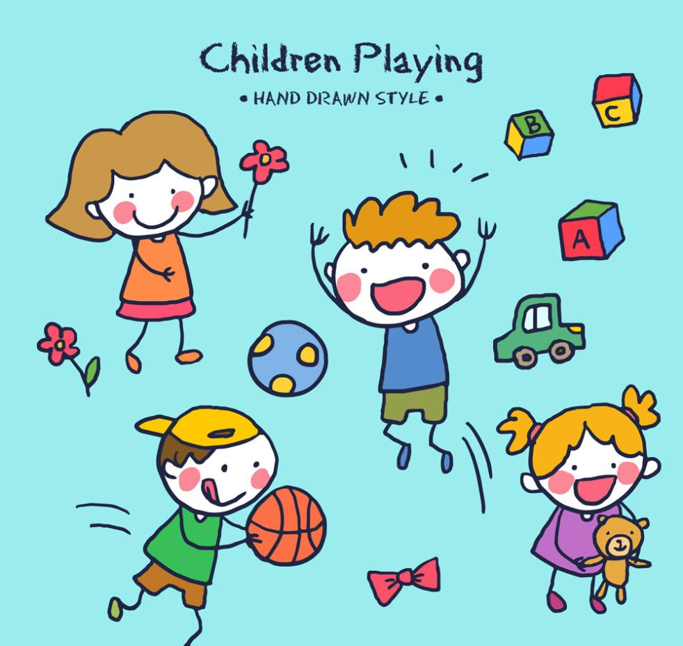 4 Lovely Hand-painted Children Playing Games Vector