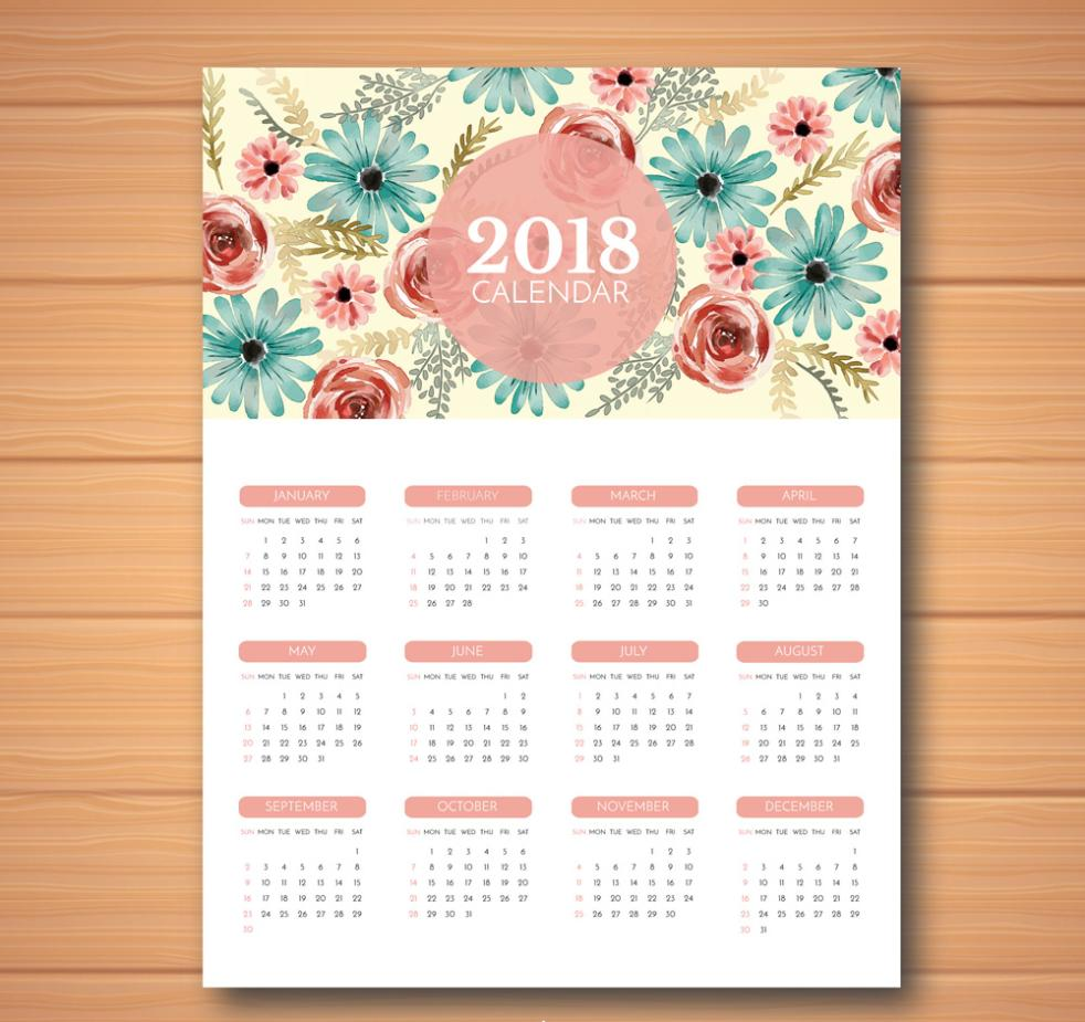 Water Painted Flowers Calendar In 2018 Vector