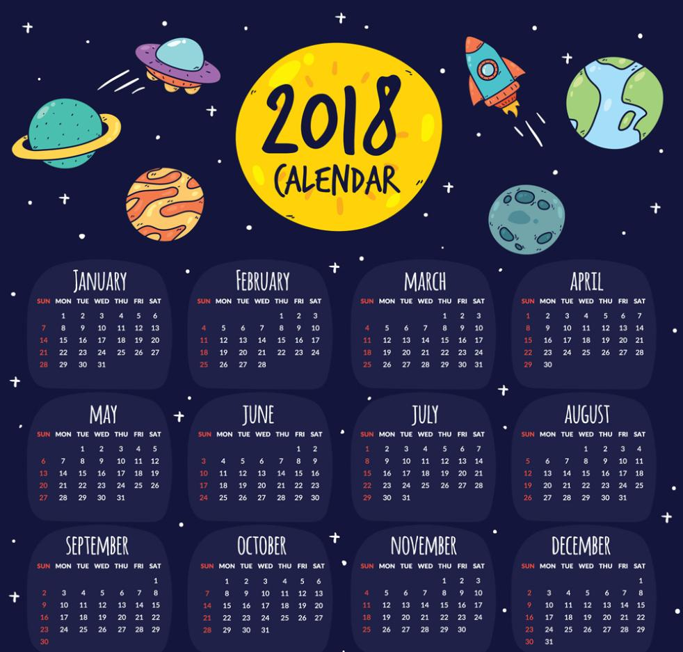 Coloured Drawing Or Pattern The Elements Calendar In 2018 Vector