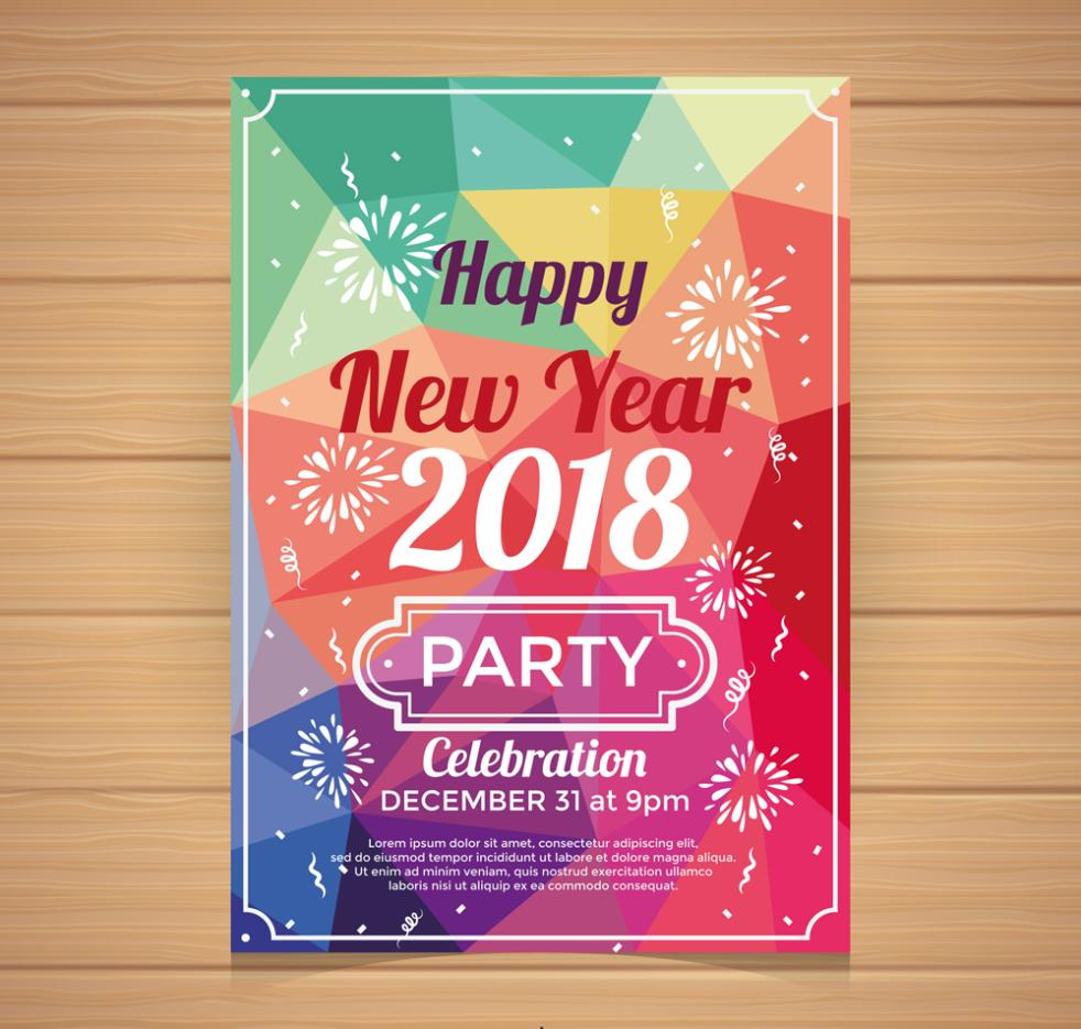 Color Flyer New Year's Party Vector