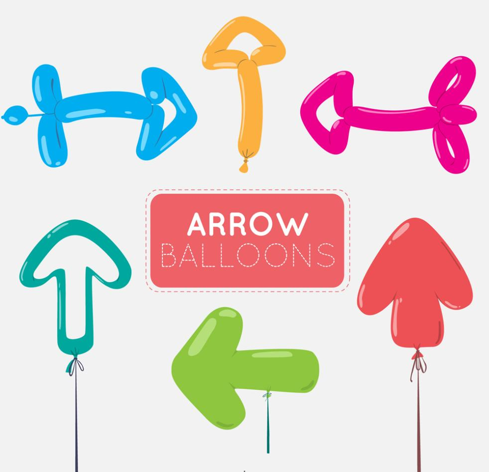 Six Color Arrow Balloons Vector