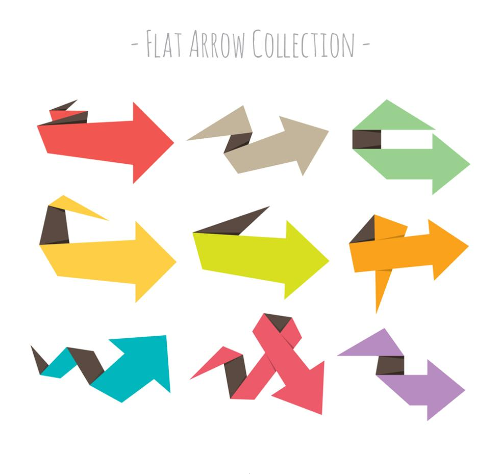 Nine New Color Flat Origami Arrow Vector