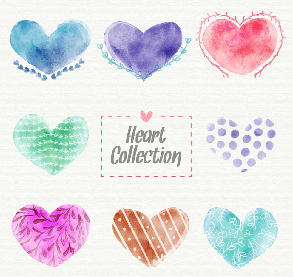 Eight Love Water Painting Decorative Pattern Vector