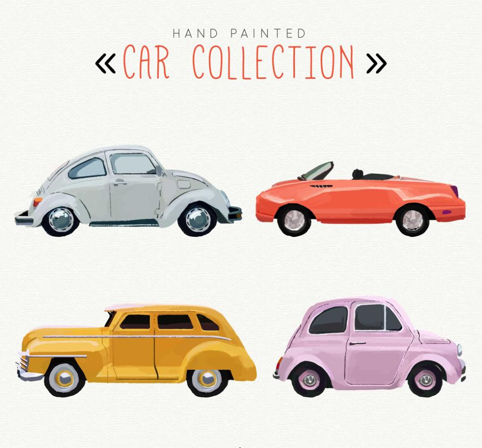 4 Hand Color Vehicles Vector