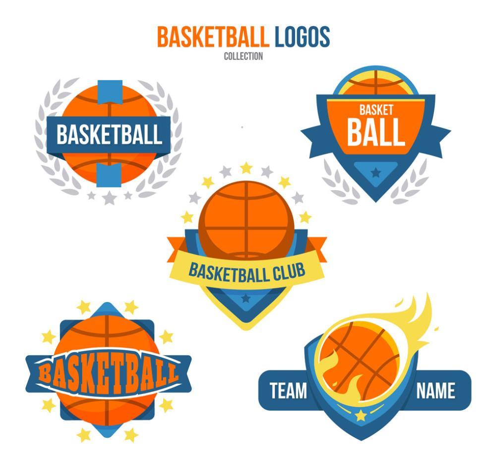 5 Color Basketball Vector