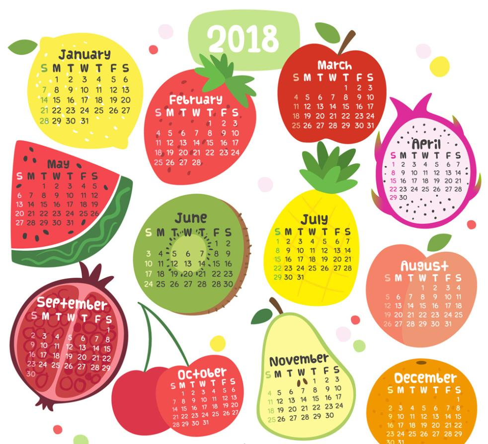 Lovely Fruit Calendar In 2018 Vector