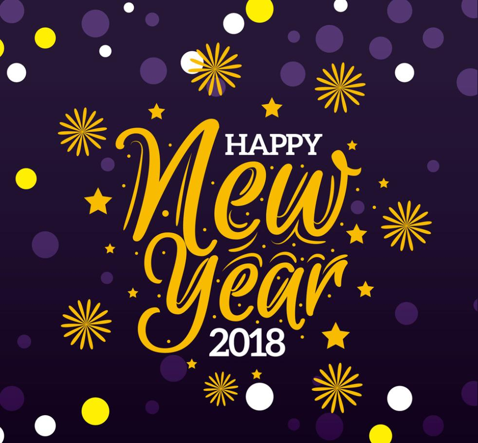 Creative Happy New Year 2018 Words Of Art Vector