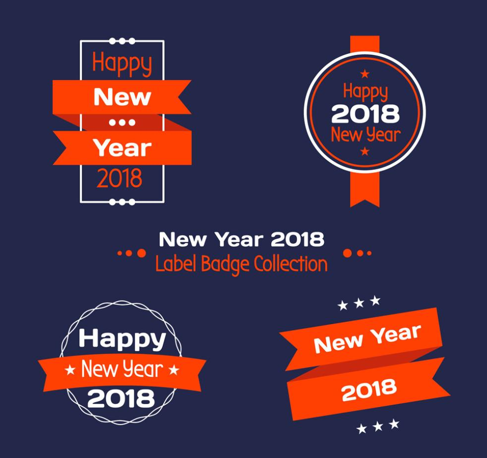 Happy New Year, 4 Red Badge Vector