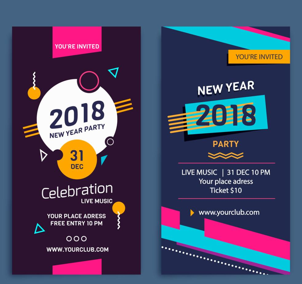 2 Or More Abstract New Year's Eve Party Flyer Vector
