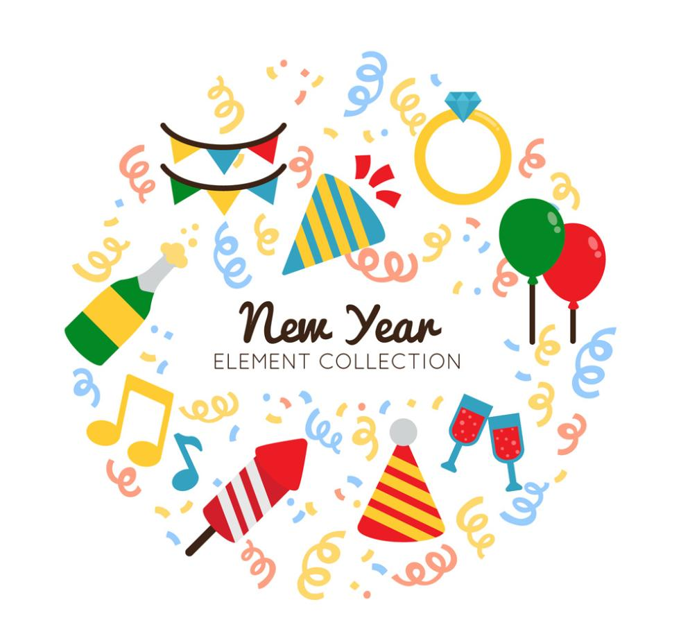 10 Painted Elements In The New Year Vector