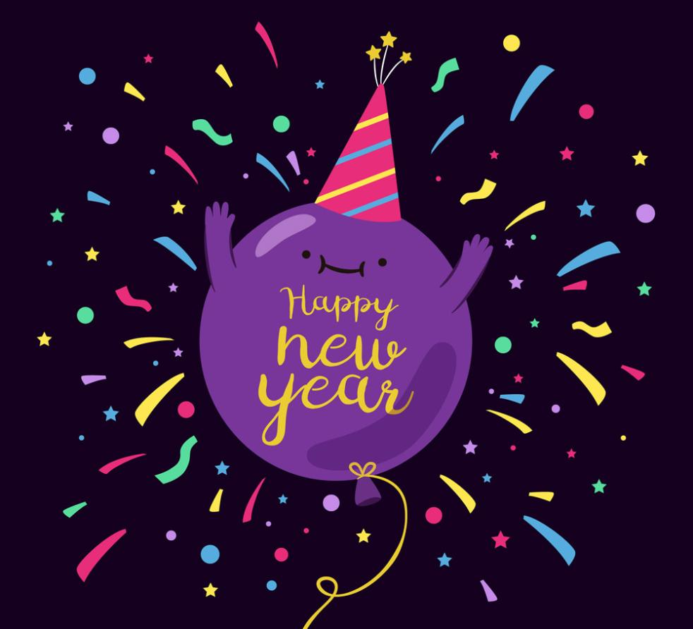 New Year Greeting Card Purple Balloons Vector