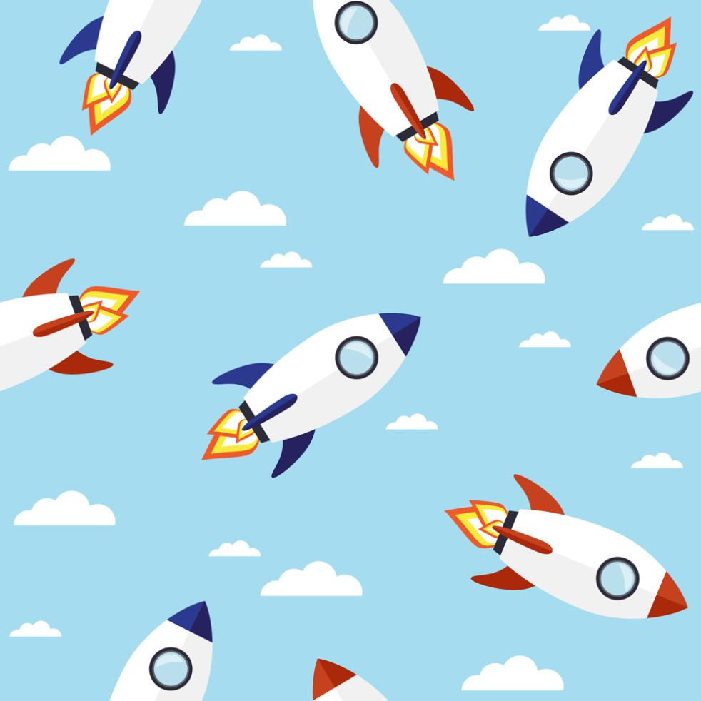 Creative White Rocket Seamless Background Vector