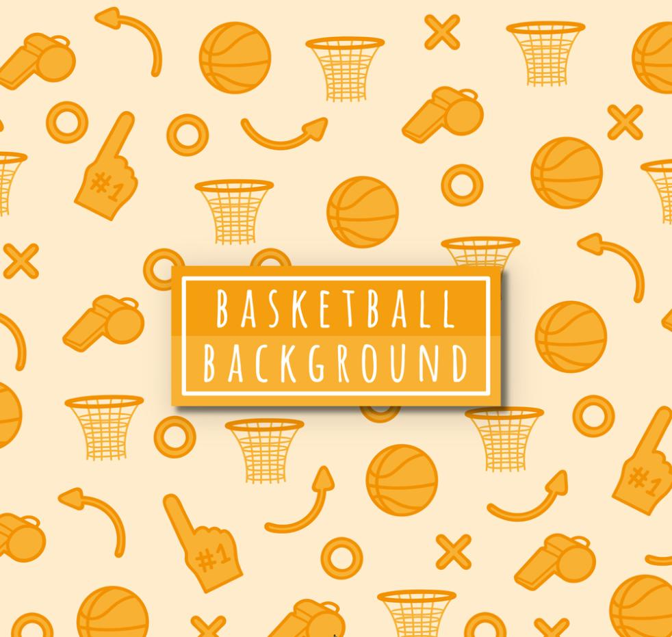 Orange Basketball Seamless Background Elements Vector