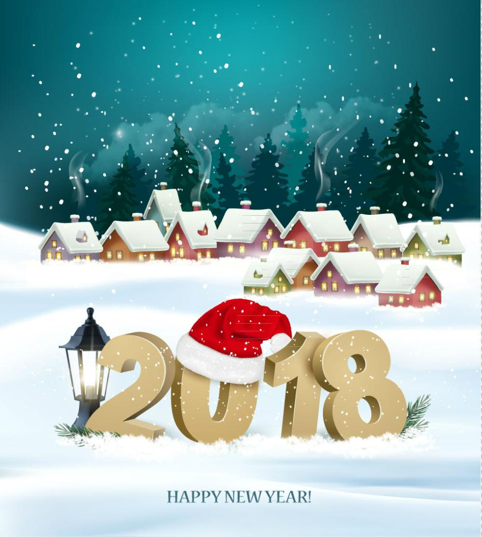 2018 Snow House Scenery Vector