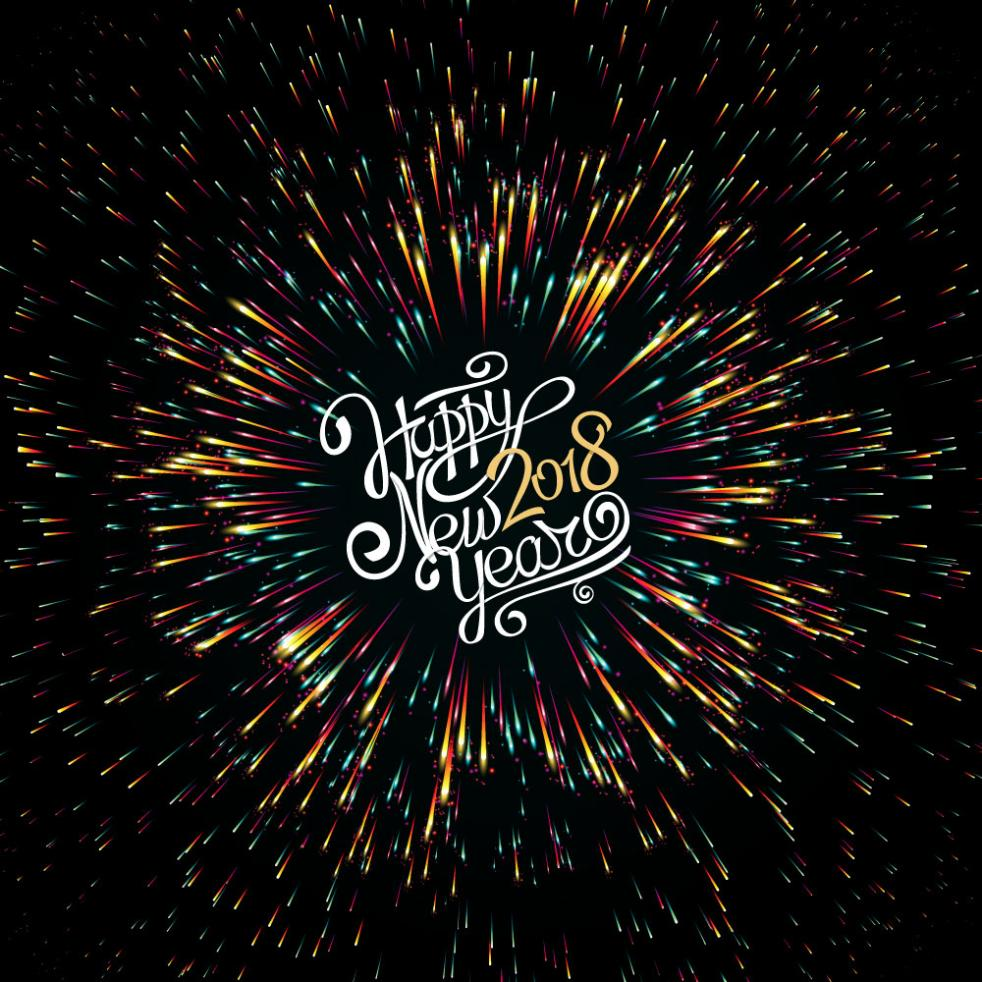 Happy New Year Colorful Fireworks Art Words Vector