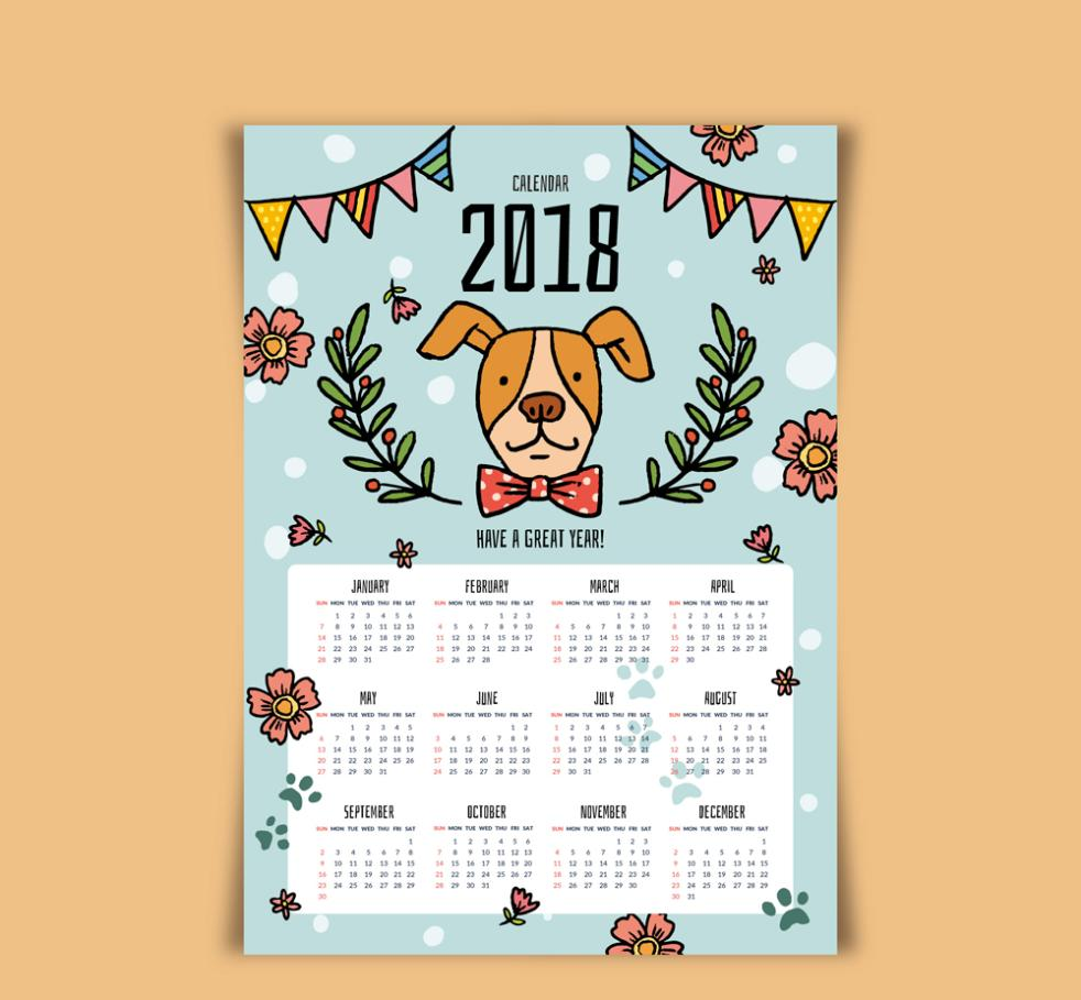 Cute Puppy Calendar In 2018 Vector