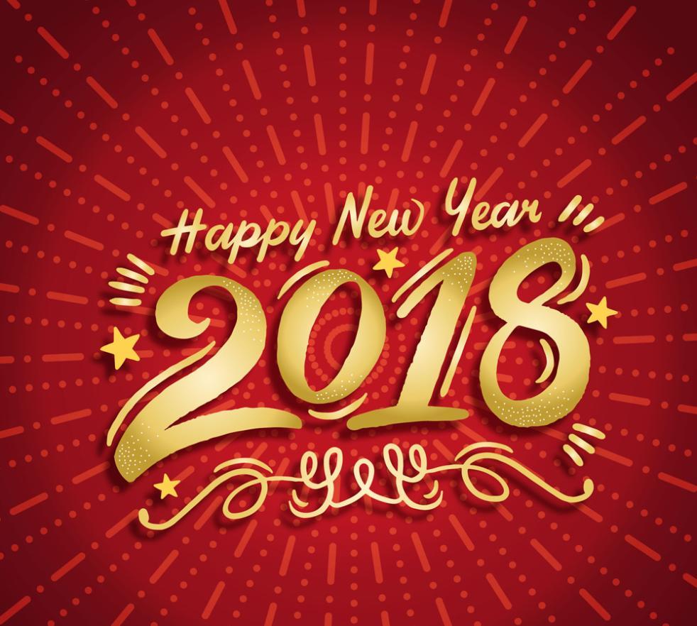 Happy New Year, Golden Art Words In 2018 Vector