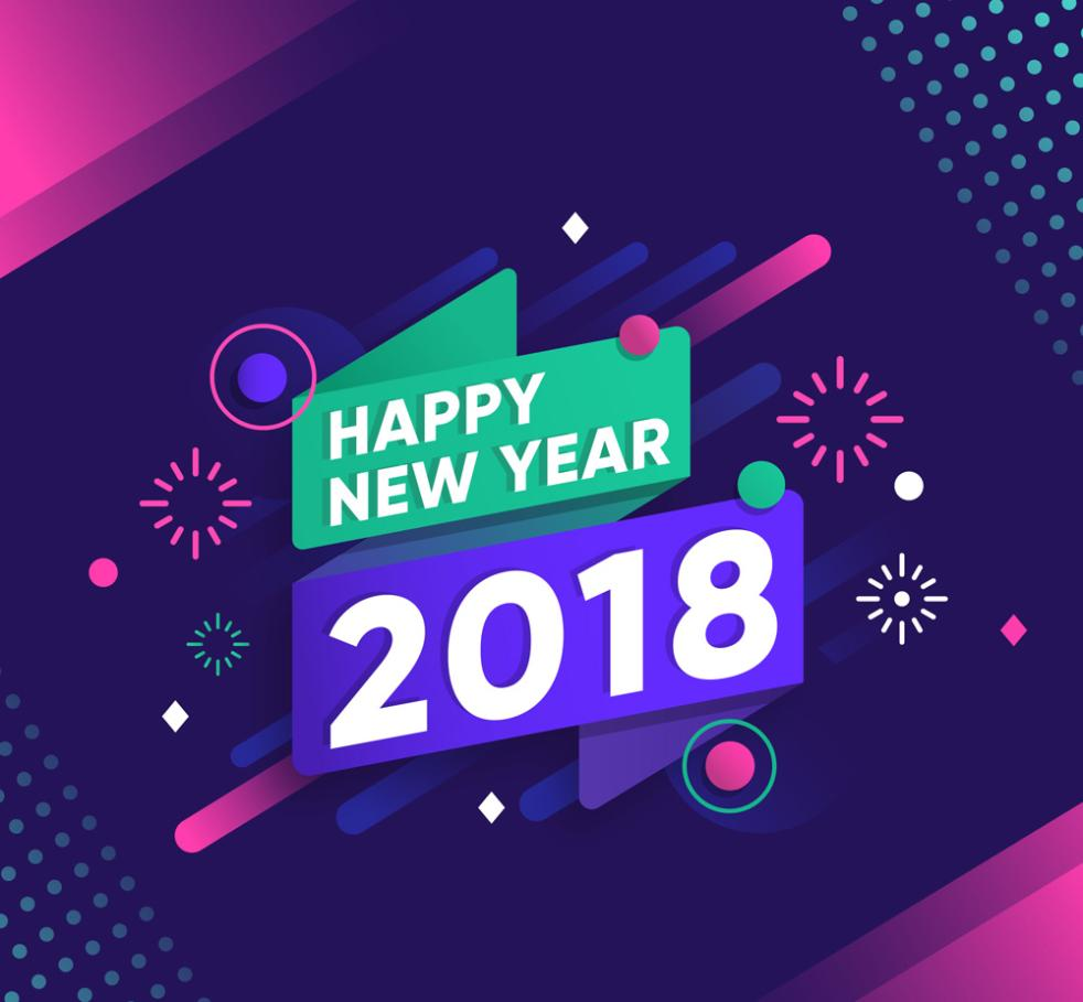 Abstract A Happy New Year 2018 Words Of Art Vector