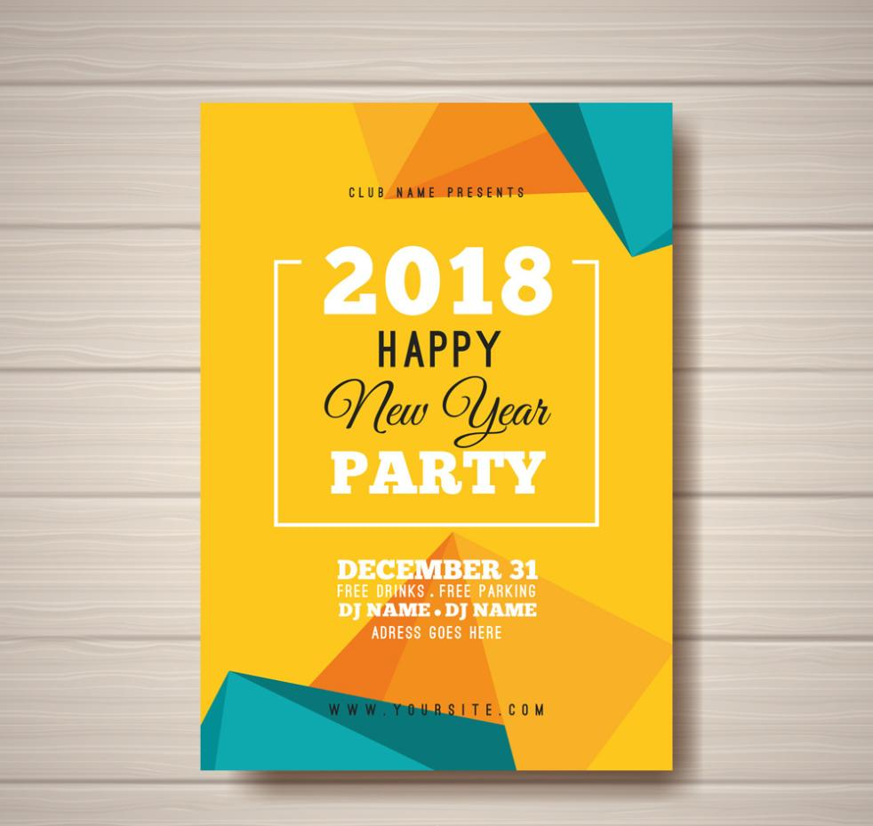 Color Cars In The New Year's Party In 2018 Vector