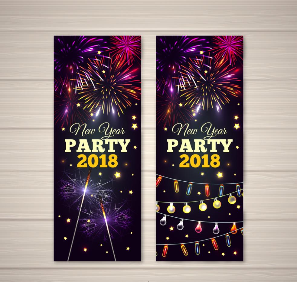2 Or More Colorful Fireworks Party Banner In The New Year Vector