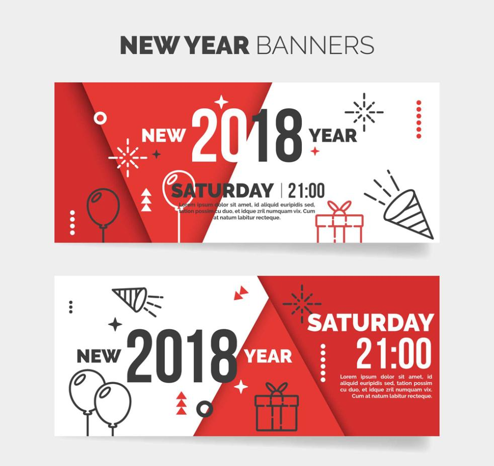 Abstract Happy New Year A Red Banner Vector