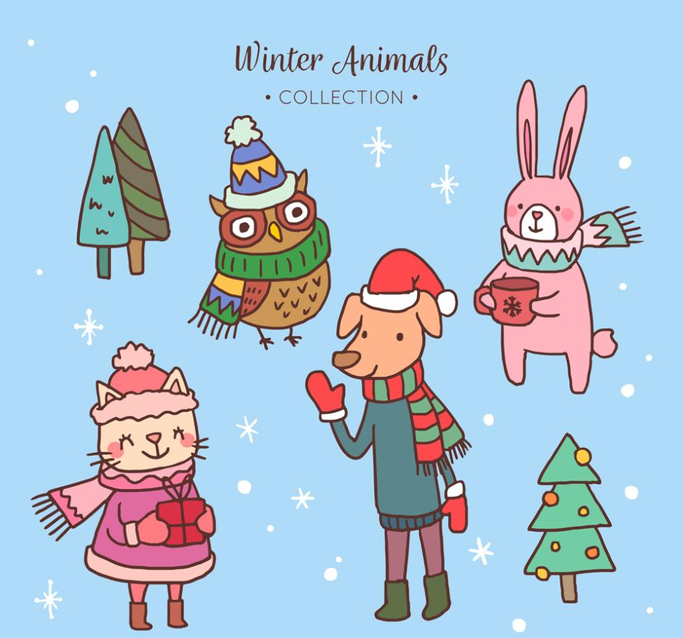 4 Lovely Winter Animals Vector