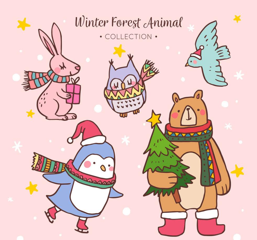 Five Cute Animals In Winter Vector
