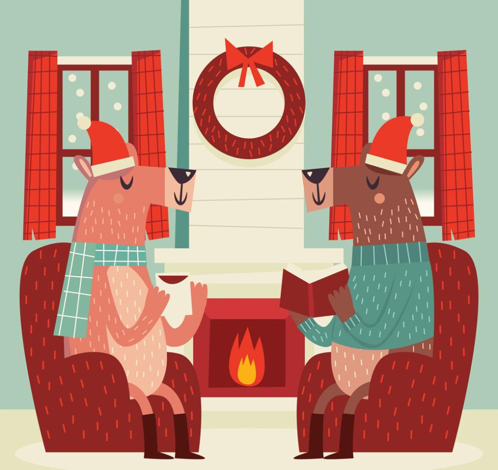 Creative Sitting On A Cup Of Tea In The Two Reindeer Vector