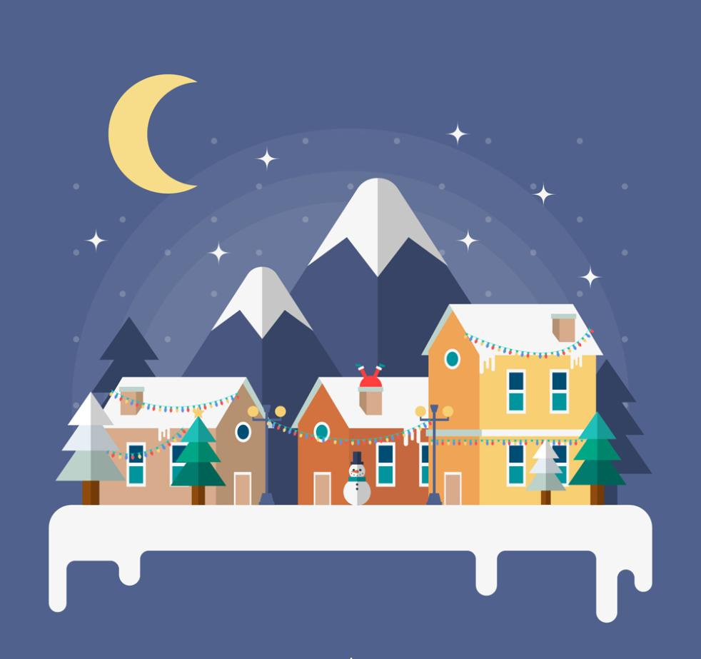 Flattening Bianjianzhu Winter Mountain Scenery Vector