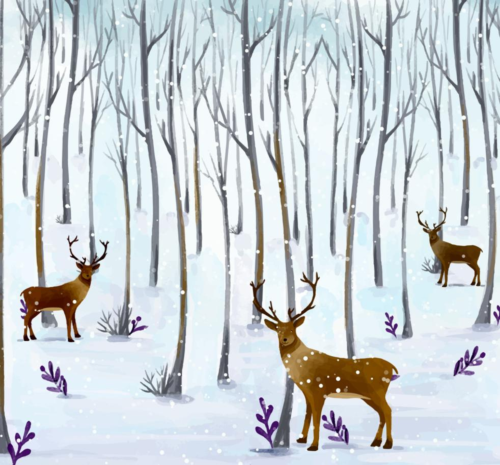 Three Reindeer Water Coloured Drawing Or Pattern In The Forest Vector