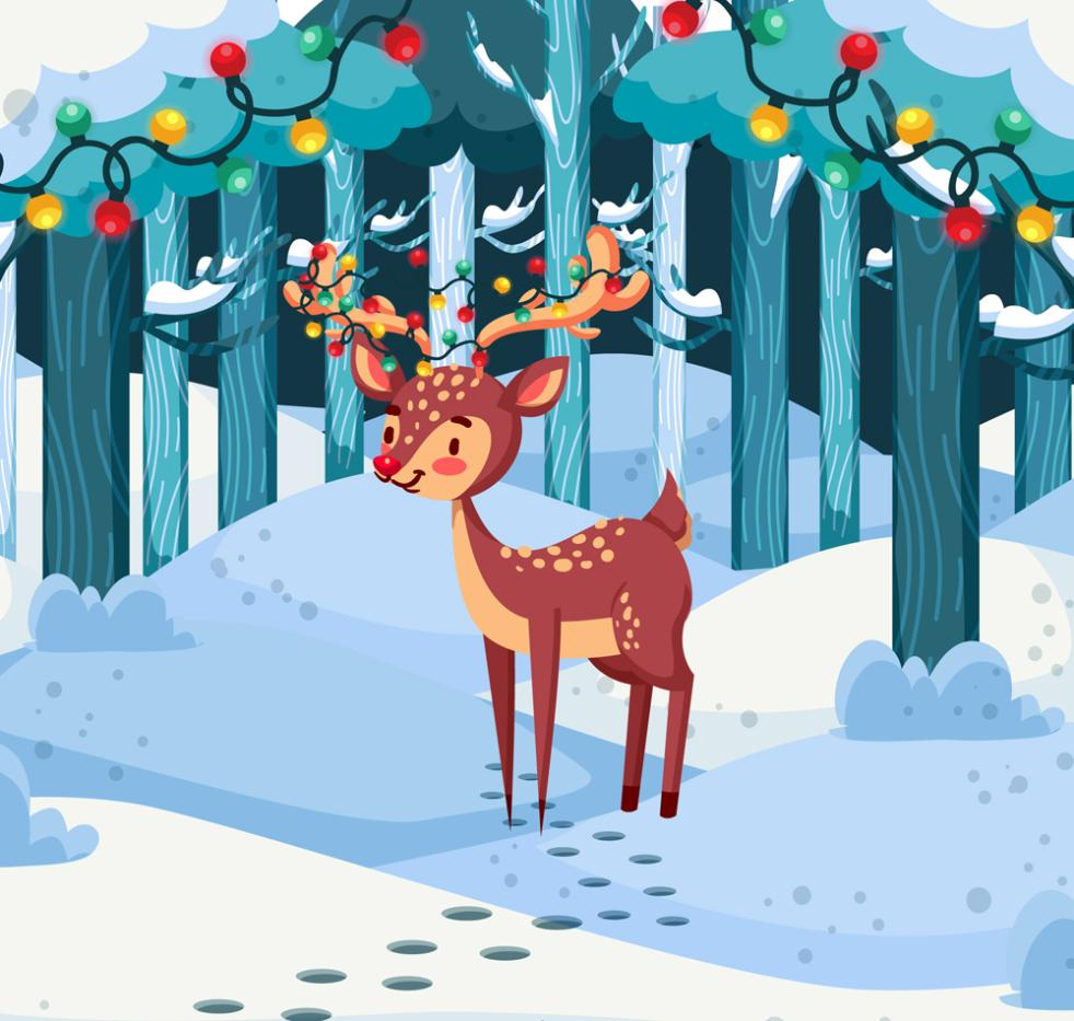 The Cartoon Of Sika Deer In The Forest Vector