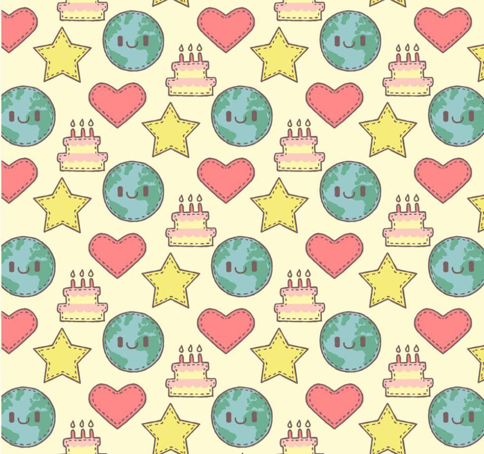 The Earth And Stars Seamless Background Coloured Drawing Or Pattern Vector