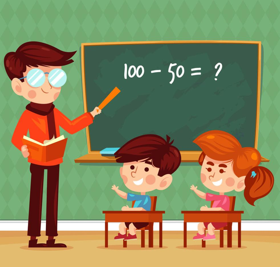 Cartoon And Classroom Teachers And Children Vector