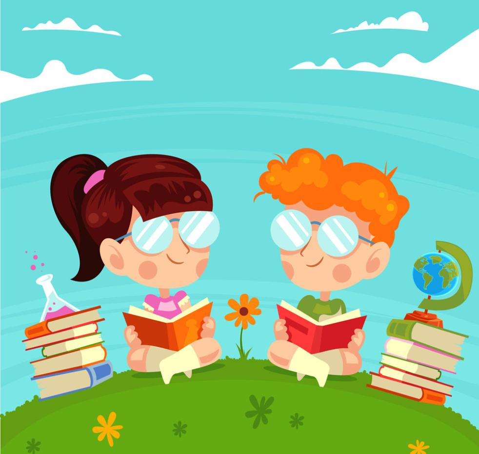 Lovely Lawn Reading Two Children Vector