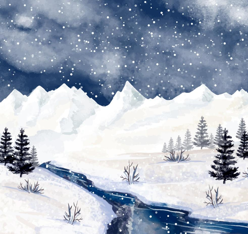 Winter River Scenery Water Coloured Drawing Or Pattern Vector