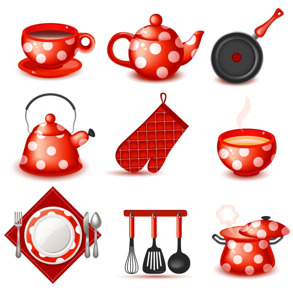 9 A Lovely Red Kitchen Supplies Vector