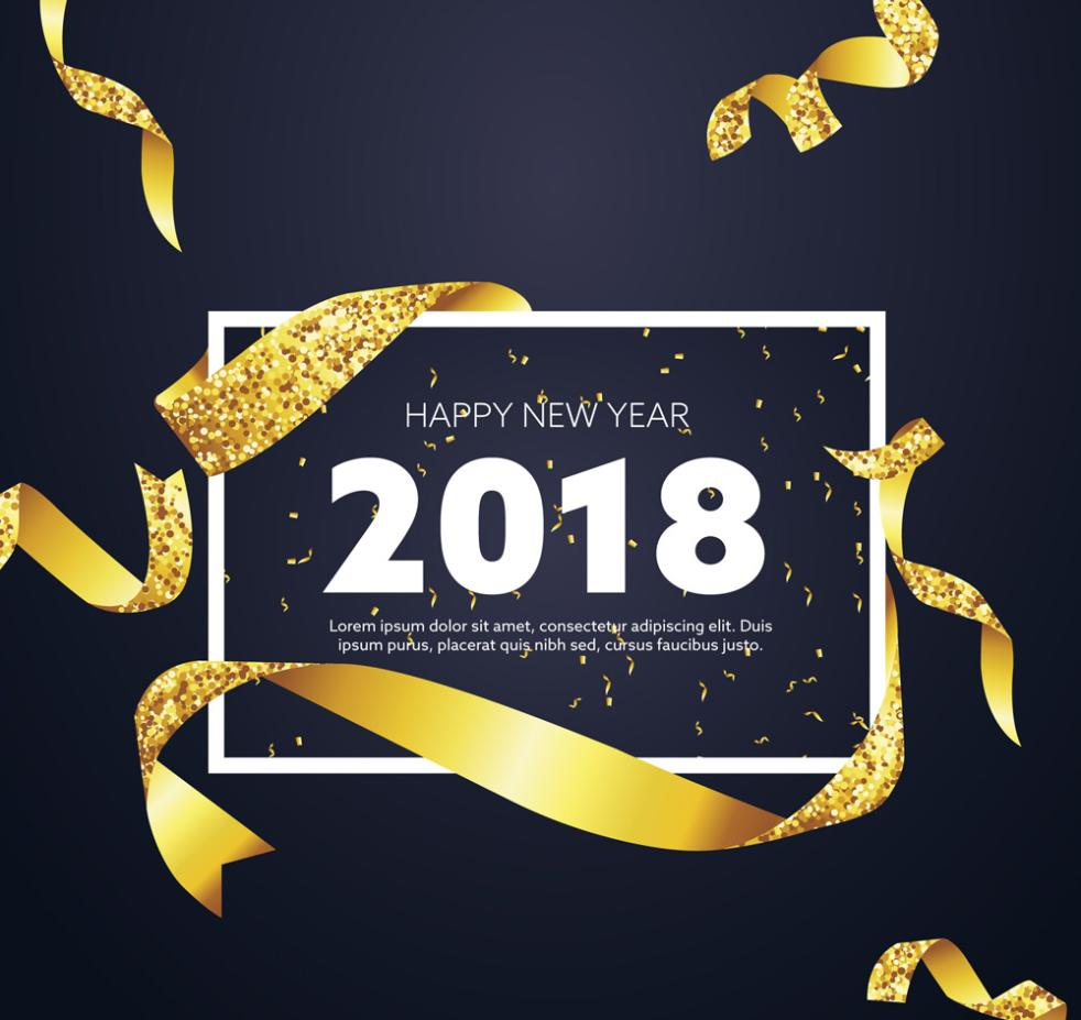New Year Greeting Card 2018 Golden Ribbon Vector