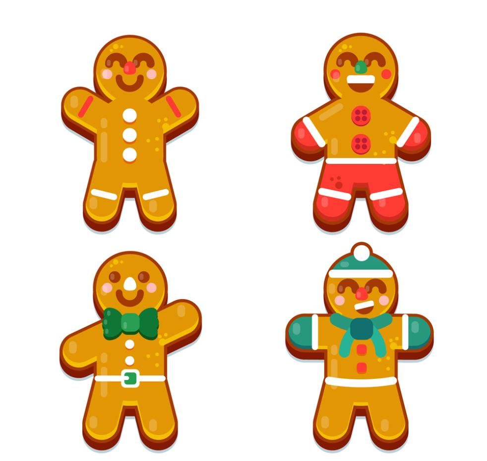4 Lovely Smiling Face Gingerbread Man Vector