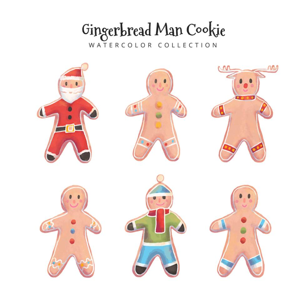 Gingerbread Man Six Coloured Drawing Or Pattern Design Vector