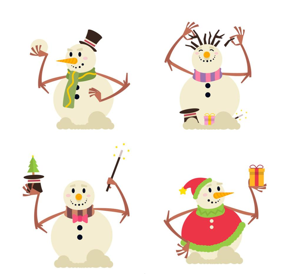 4 Creative White Snowman Vector