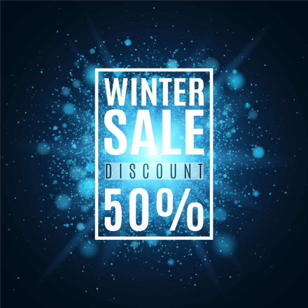 Creative Winter Promotional Poster For Half Price Vector