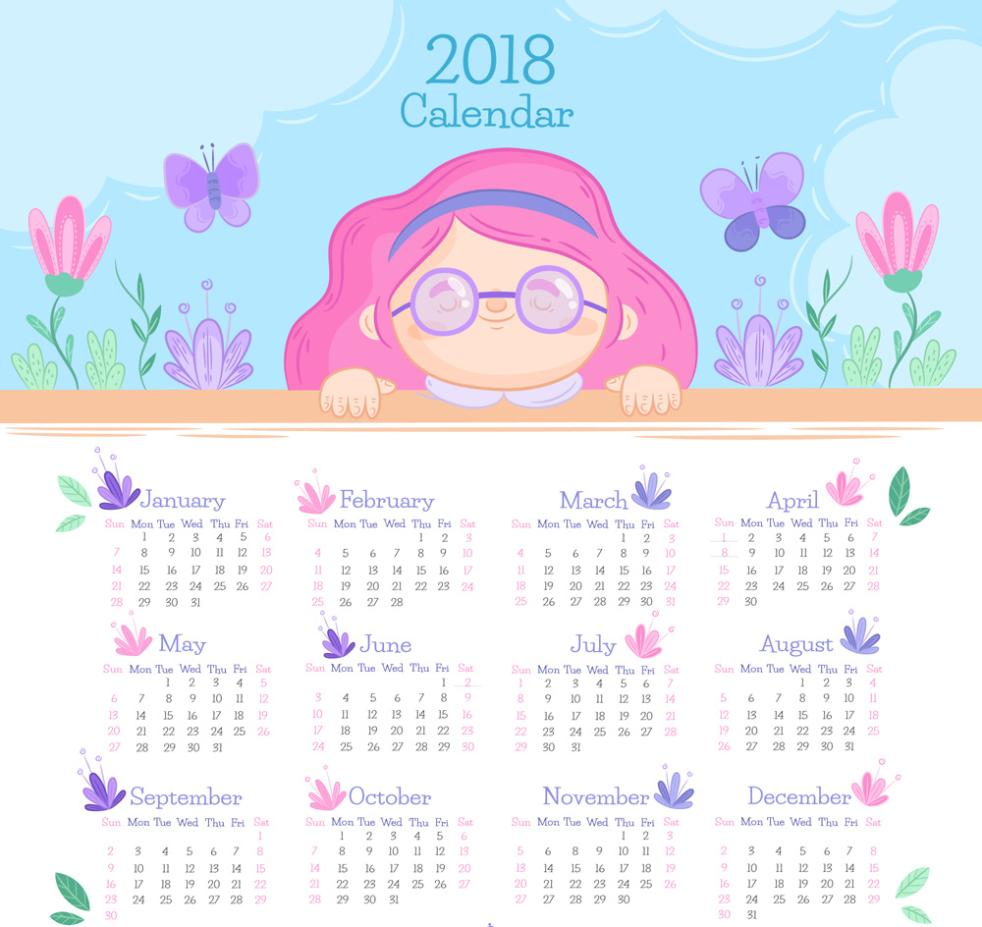 Cute Girl Calendar Design In 2018 Vector