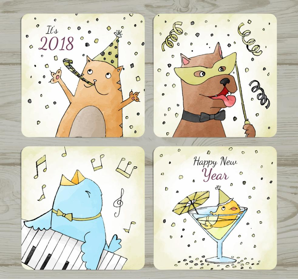 Happy New Year Card 4 Painted Animals Vector