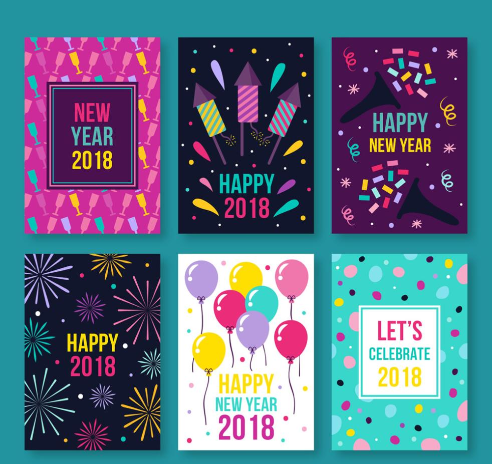 Happy New Year, Six Color Card Vector