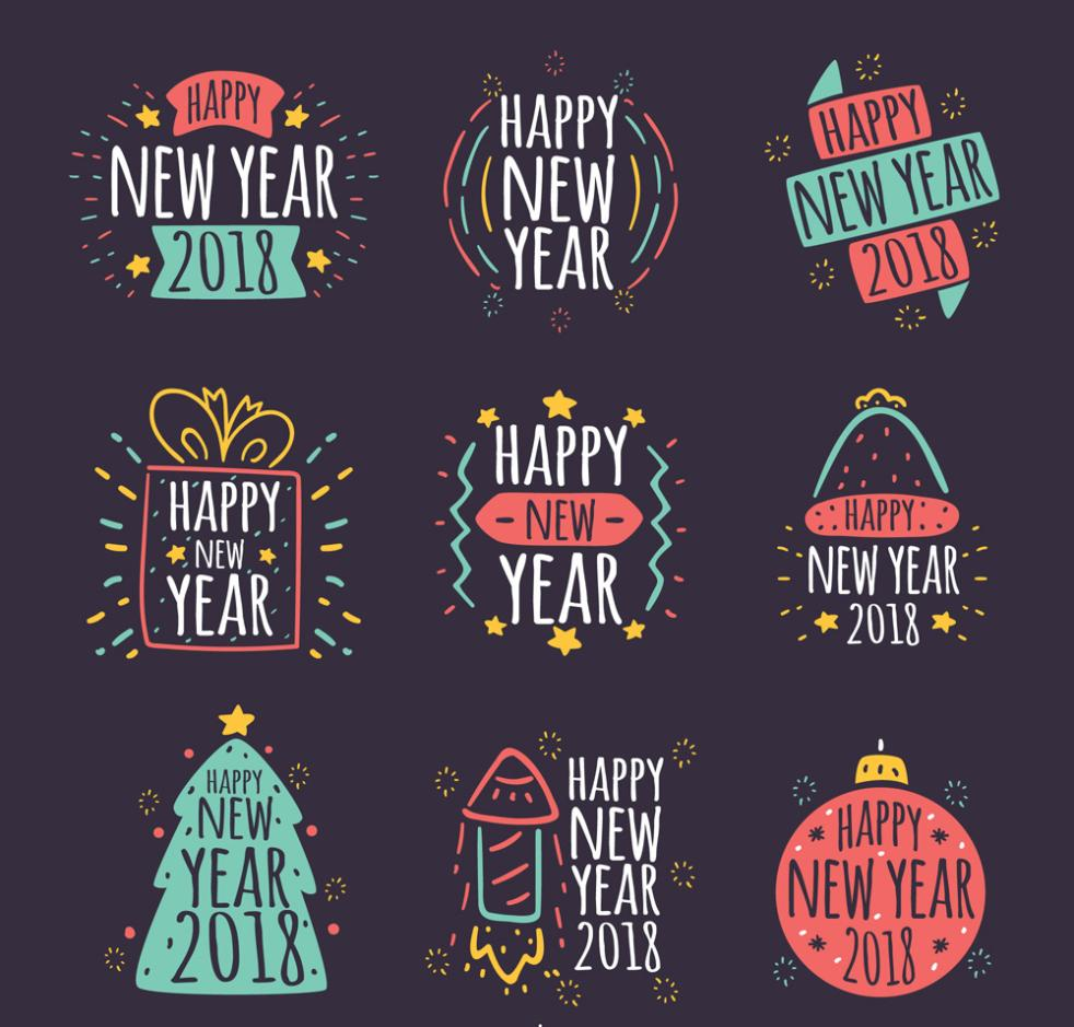 Nine New Happy New Year Painting Art Vector